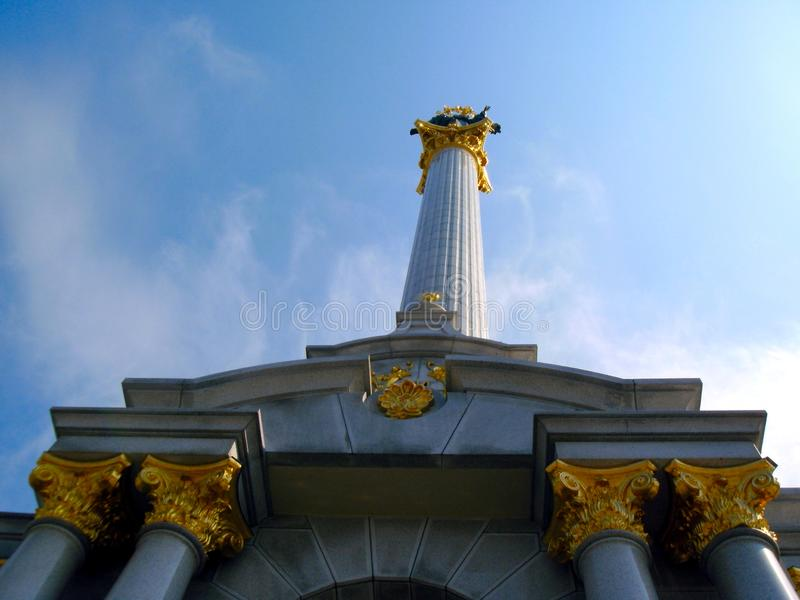 The independence monument on maidan from below stock photo