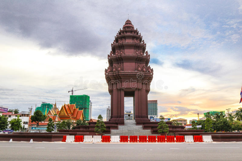 Independence Monument is the one of landmark in Phnom Penh, Cambodia royalty free stock images