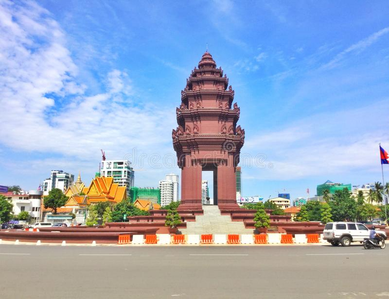 Independence Monument. This is the Independence Monument that was located in Phnom Penh City in Cambodia. It was built since the France War and it is a symbol to royalty free stock photos