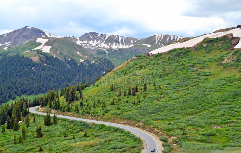 Independence Pass. Through the Rocky Mountains of Colorado stock images