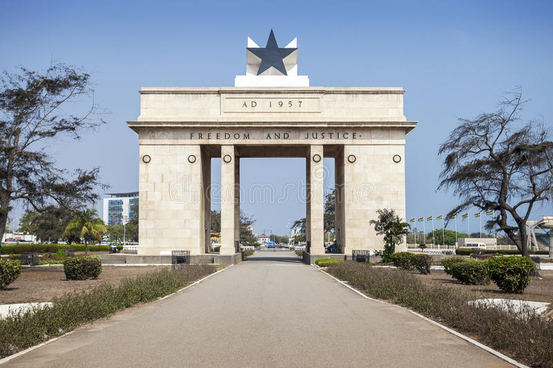 Independence Square, Accra, Ghana. Independence Arch commemorates freedom of Ghanians from British Empire royalty free stock image