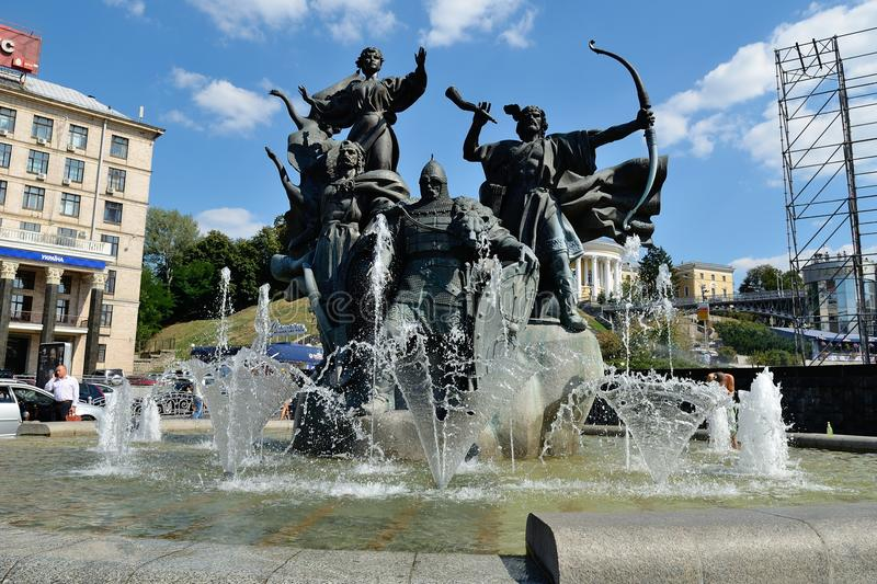 Independence Square, Kiev. Fountain-monument to the founders of Kiev's at Independence Square, Kiev, Ukraine stock photography
