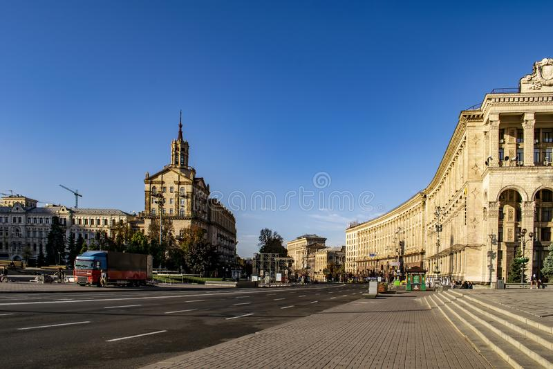 The view on the central street in Kyiv is Khreshchatyk street. The Independence Square Maidan Nezalezhnosti in Kyiv. The view on the central street stock images