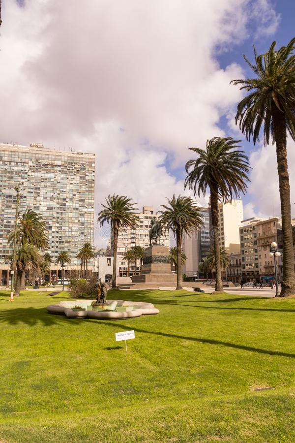 Independence Square in Montevideo, Uruguay. It`s the city center, with statue of Artigas, the Gate of the Citadel, Executive Towe. Montevideo, Uruguay, september stock photography
