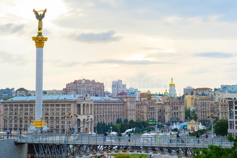 Independence square skyline Kiev Ukraine royalty free stock images