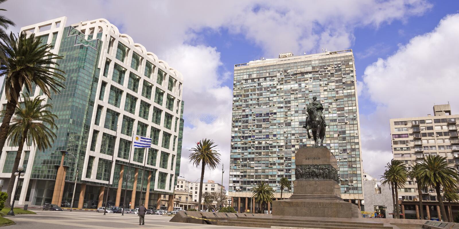 Independence Square. Uruguay. Independence Square. It is the main square in Montevideo. In the foreground the large equestrian statue of José Gervasio Artigas stock photos