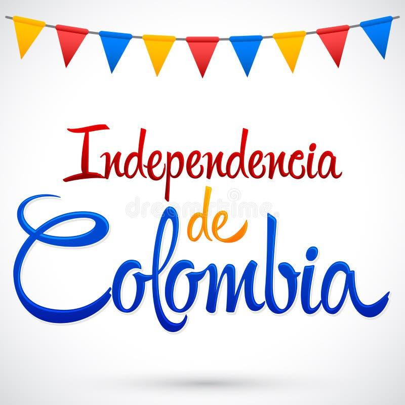 Independencia de Kolumbia, Kolumbia dnia niepodległości hiszpański tekst -, Kolumbijski tradycyjny wakacje ilustracja wektor
