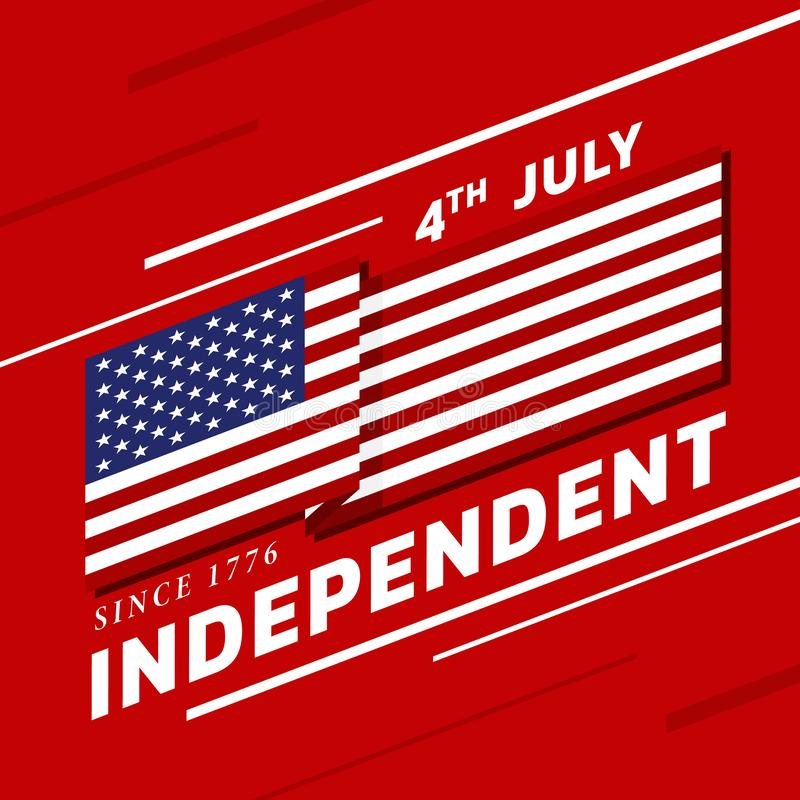 Independent day for usa banner with usa flag or America flag stripes Waving sharp corners and text on red background vector design vector illustration