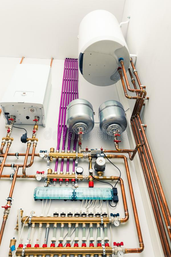 Independent heating system in boiler-house. Closeup view royalty free stock photos