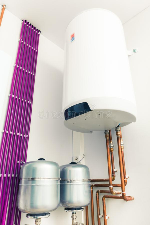 Independent heating system with boiler. Closeup view royalty free stock images