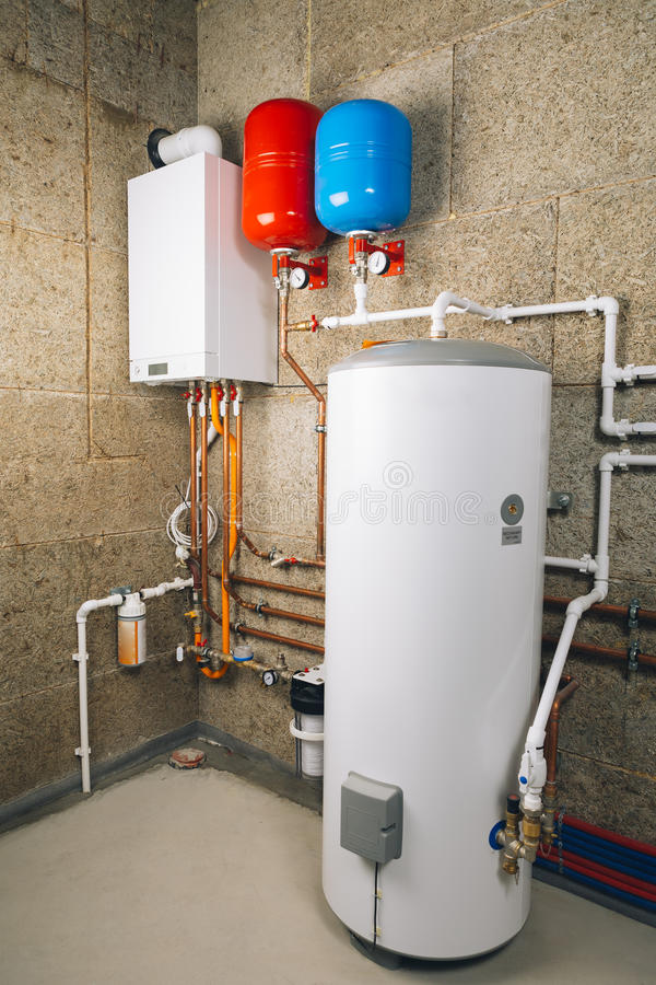Independent heating system in boiler-room. Modern boiler house stock images
