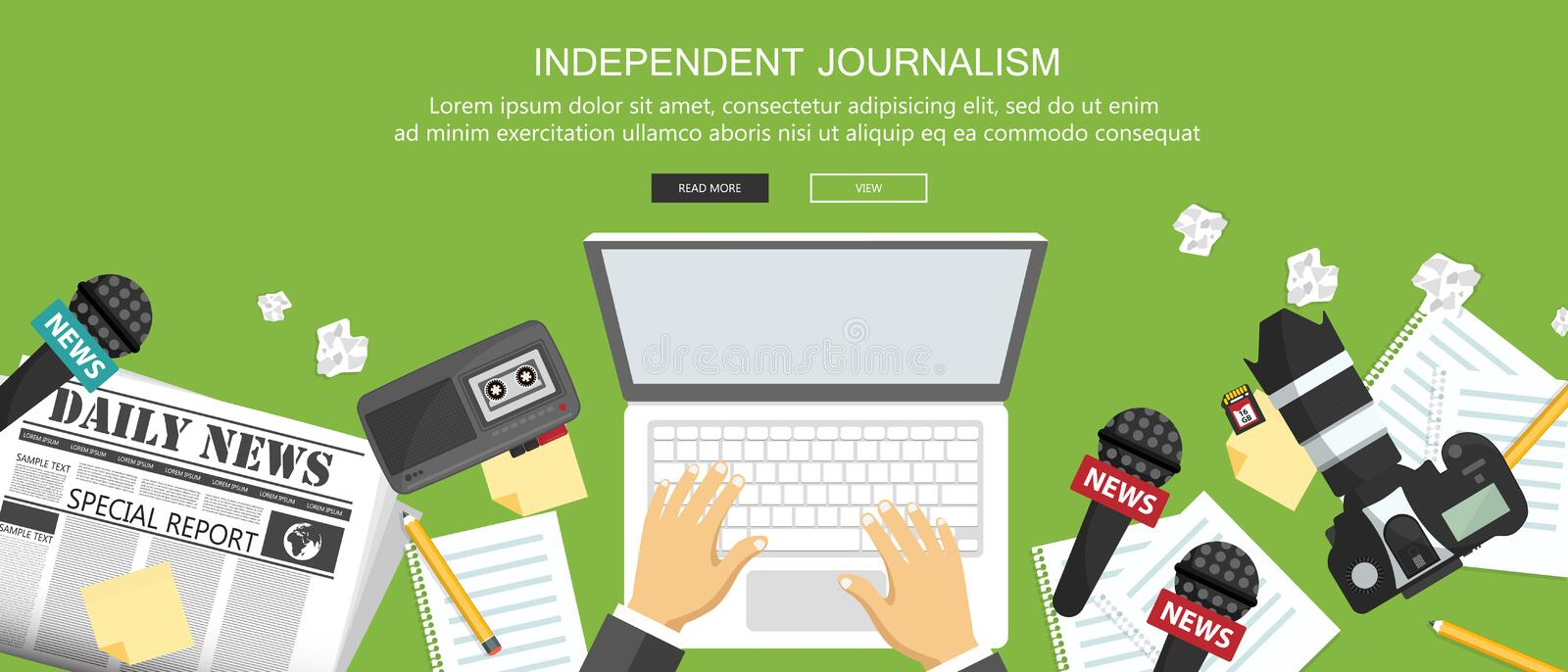 Independent journalism flat banner. Equipment for journalist on desk. Flat vector. Illustrationn stock illustration