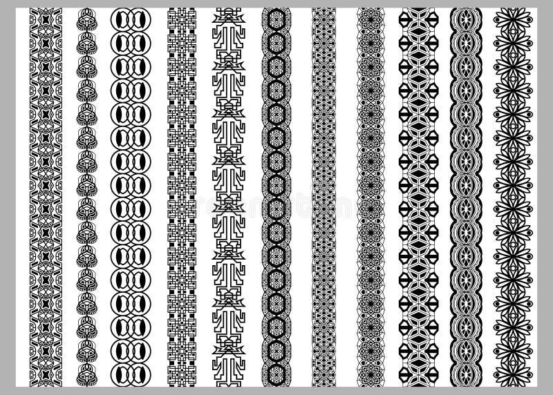 Inder-Henna Border-Dekorationselementmuster in den Schwarzweiss-Farben lizenzfreie abbildung