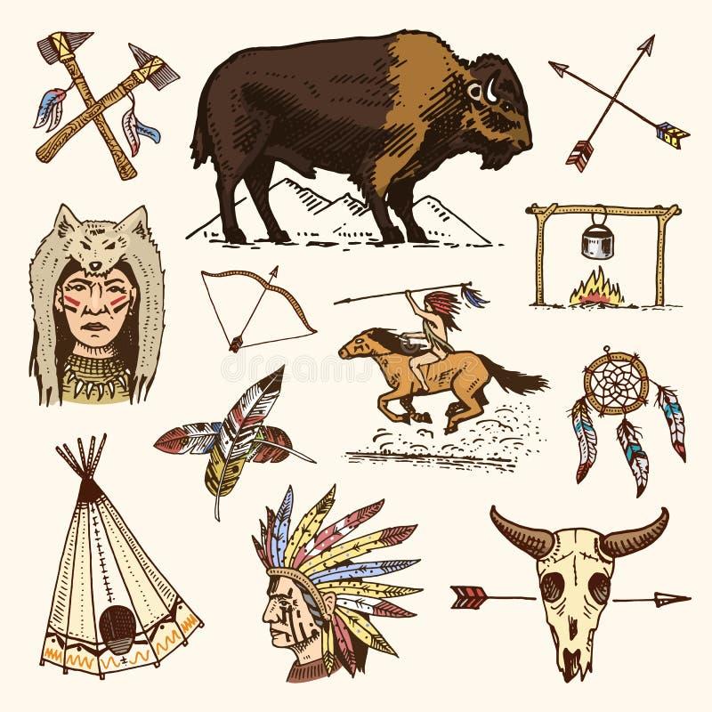 Inder oder amerikanischer Ureinwohner Büffel, Äxte und Zelt, Pfeile und Bogen, Schädel, Dreamcatcher und Cherokee, Kriegsbeil Sat stock abbildung