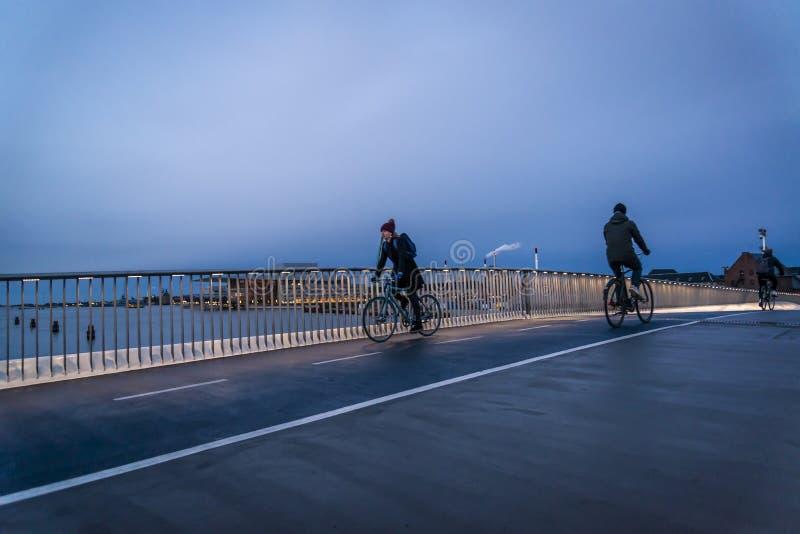 Inderhavnsbroen or the Inner Harbour bridge located by Nyhavn, Copenhagen, Denmark royalty free stock photos