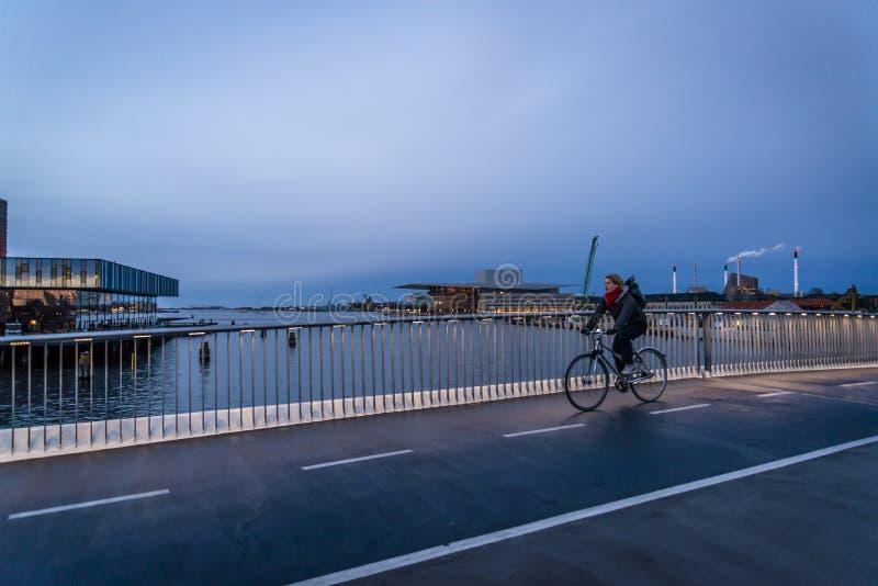 Inderhavnsbroen ou a ponte interna do porto situada por Nyhavn, Copenhaga, Dinamarca imagem de stock