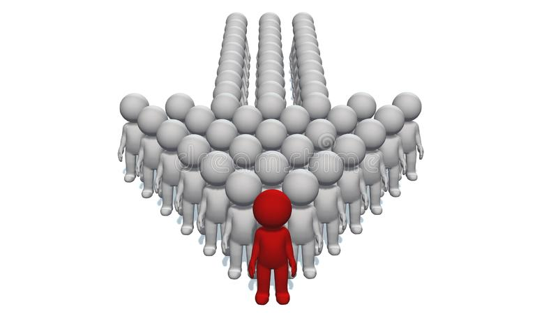 Index arrow made of 3D people with a leader at the top on white background vector illustration