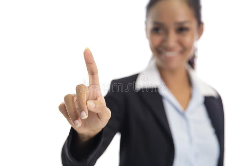 Index asiatiques de femme d'affaires feignant comme le scre émouvant image stock