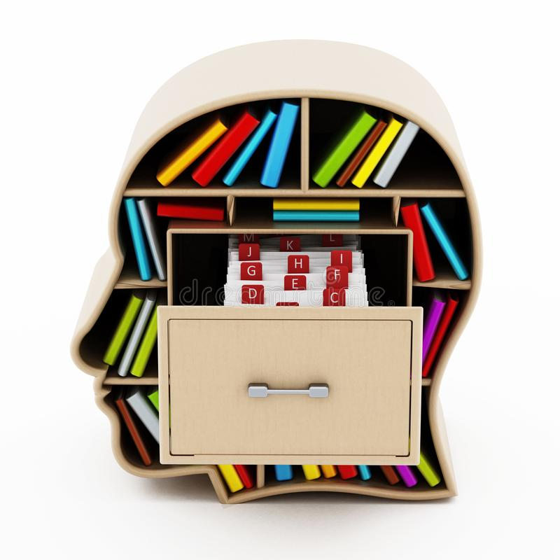 Index card catalogue inside head library drawer. 3D illustration.  stock illustration