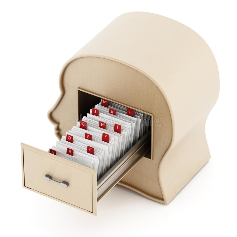 Index card catalogue inside head library drawer. 3D illustration.  royalty free illustration