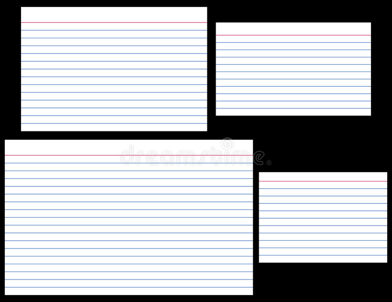 Index Cards. In four popular sizes: 4 x 6, 3 x 5, 5 x 8, and A7 (ISO). Each card is individually grouped and is actual size stock illustration