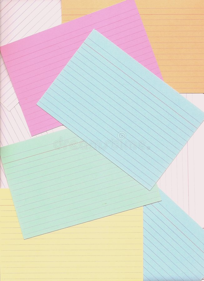 Index cards bound for classification. royalty free illustration