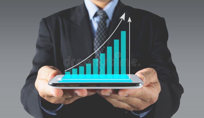 Index för materiel för dubbel exponering finansiella med den smarta telefonen royaltyfri fotografi