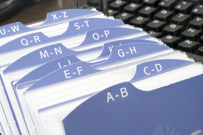 Index file with keyboard royalty free stock image