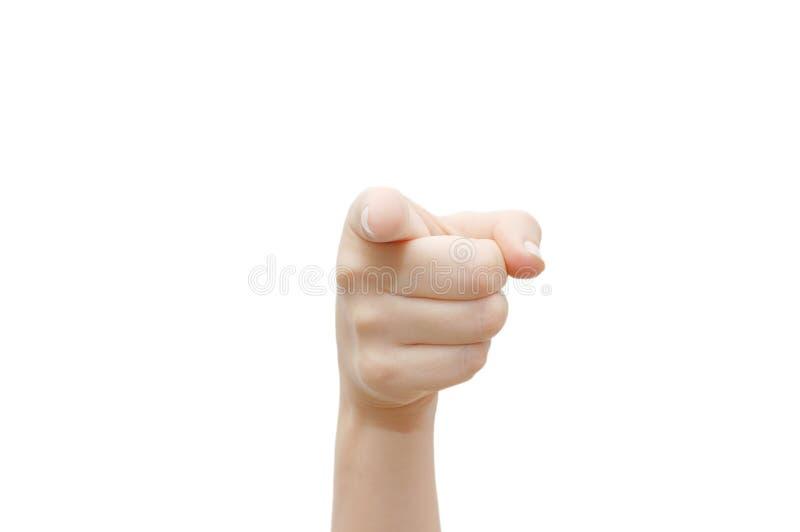 Index finger. Isolated on white background stock photo