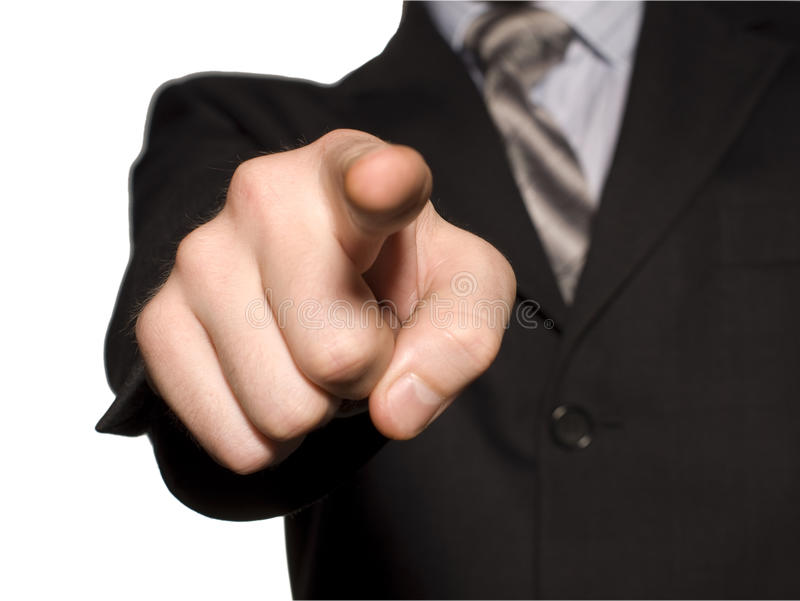 Index finger of business man hand stock images