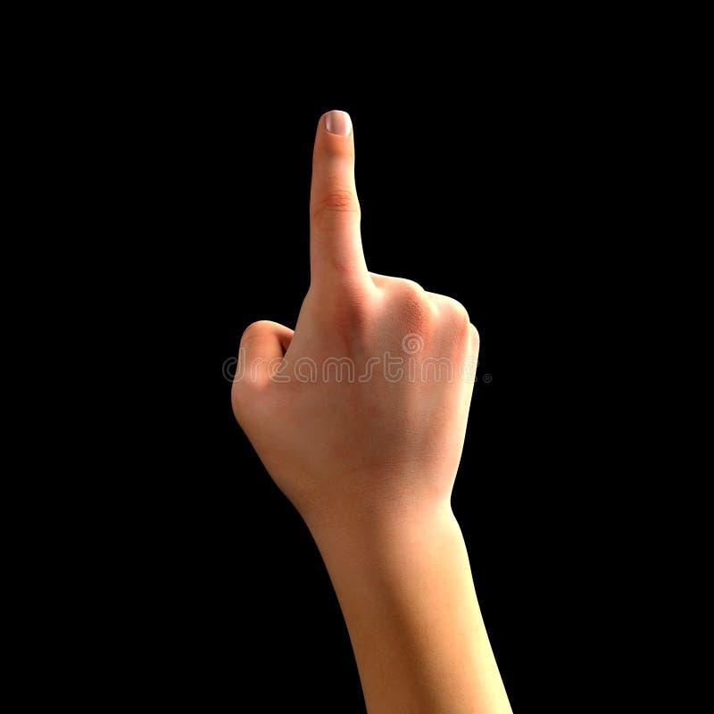 Index Finger pekar uppåt Spela, trycka royaltyfri fotografi