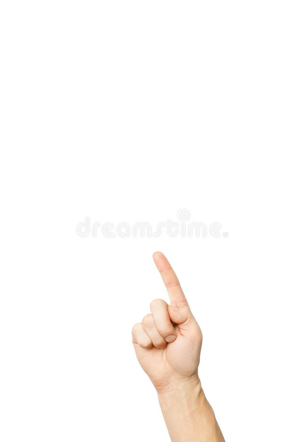 index finger pointing up, isolated royalty free stock images