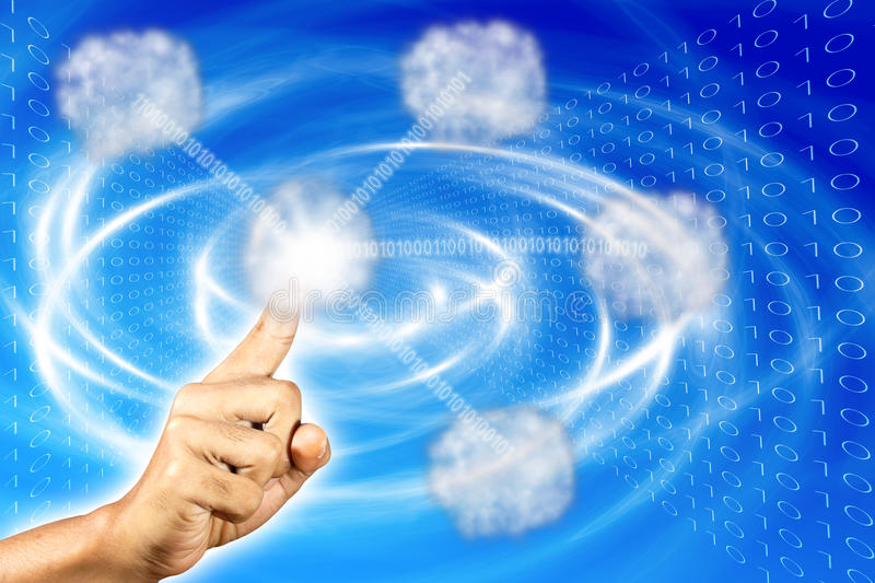 Index finger touching cloud, stock images