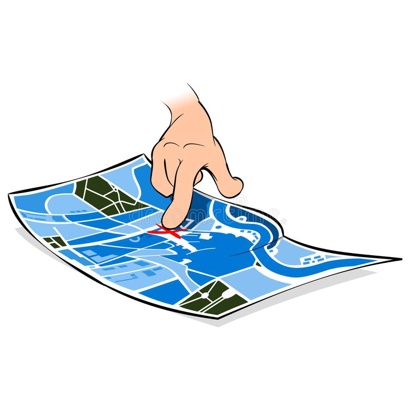 Index finger of a tourist on a city map. The index finger of a tourist on a city map in search of a way to the sights royalty free illustration