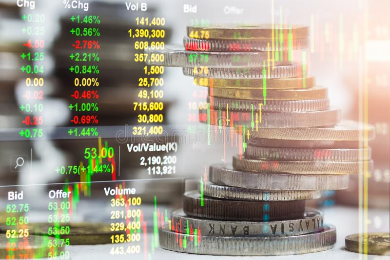 Index graph of stock market financial indicator analysis on LED. Abstract stock market data trade concept. Stock market financial data trade graph background stock photo