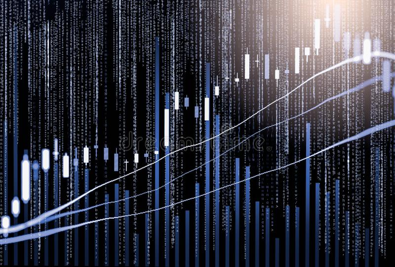 Index graph of stock market financial indicator analysis on LED. Abstract stock market data trade concept. Stock market financial data trade graph background stock images