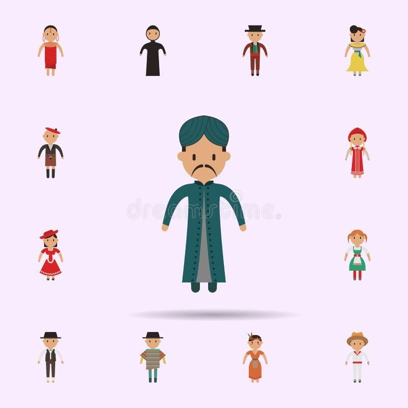 Indi?r, het pictogram van het mensenbeeldverhaal Universele reeks mensen rond de wereld voor websiteontwerp en ontwikkeling, app  vector illustratie