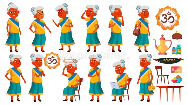 Indiańskie pozy Ustawiający stara kobieta wektor Starsi ludzi Starsza osoba aged Aktywny dziadek joyce Prezentacja, druk royalty ilustracja