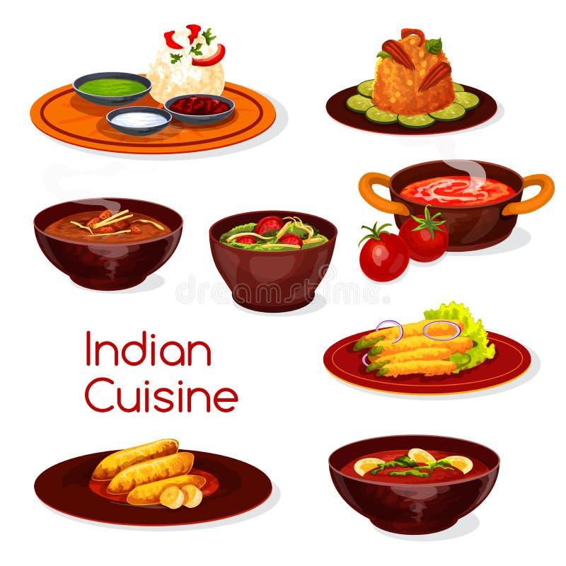 Indiańscy kuchni jedzenia naczynia i desery ilustracji