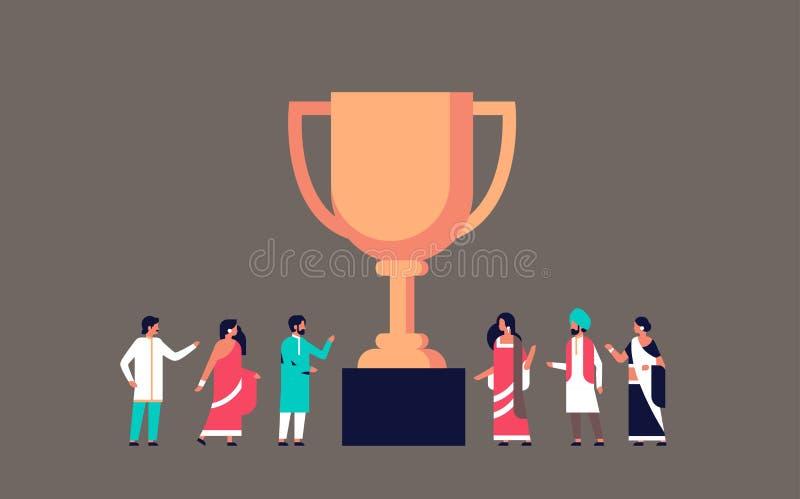 Indiańscy ludzie zwycięzca filiżanki złotego trofeum najpierw umieszczają pojęcie pracy zespołowej strategii mistrzostwa zwycięst ilustracja wektor