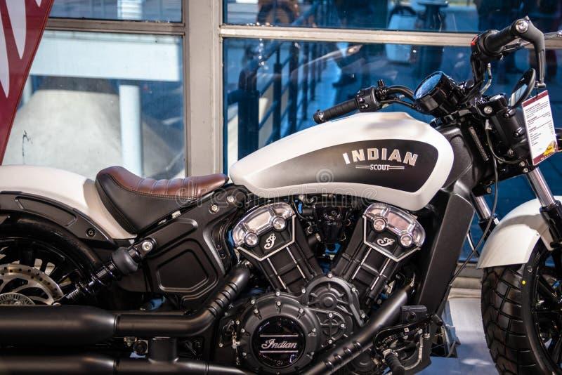 Indiańscy motocykle na 54th Belgrade międzynarodowym samochodzie i motorowym przedstawieniu obraz royalty free