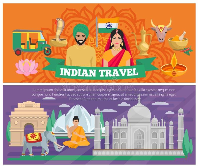 Indiańscy podróż sztandary ilustracja wektor