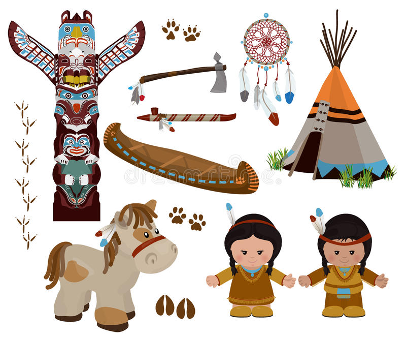 Indiańscy symbole ustawiają, postać z kreskówki Amerykańscy indianie ilustracji