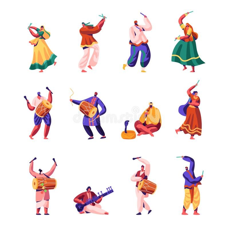 Indiańscy Uliczni artyści Ustawiający Muzycy i tancerze w Kolorowym Smokingowym spełnianiu na ulicie Bawić się Tradycyjnych instr ilustracji