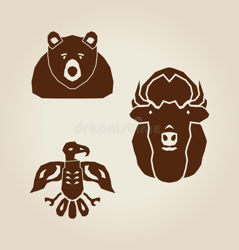 Indiańscy zwierzęta ilustracja wektor