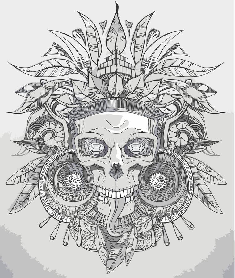 Indiańska czaszka wektoru ilustracja ilustracja wektor