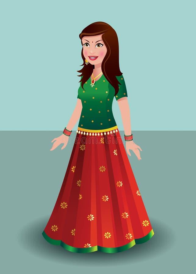 Indiańska kobieta w tradycyjnej indianin sukni - ghagra ilustracji