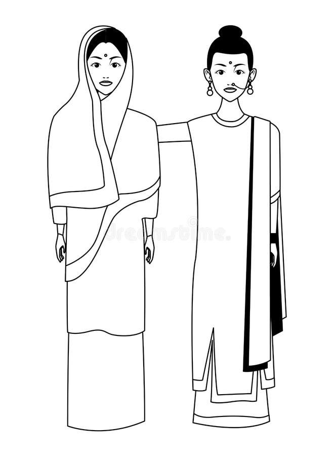 Indiańska kobiety avatar postać z kreskówki w czarny i biały ilustracji