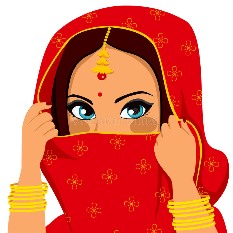 Indiańska kobiety nakrycia twarz ilustracja wektor
