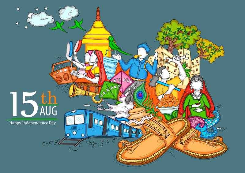 Indiańska kolaż ilustracja pokazuje kulturę, tradycję i festiwal na Szczęśliwym dniu niepodległości India, ilustracji